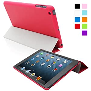 Snugg iPad Mini 1 Ultra Thin Smart Case in Red - Flip Stand Cover with Auto Wake and Sleep for Apple iPad Mini 1