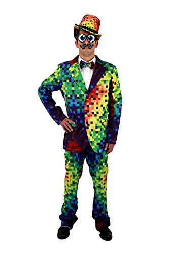 Pixel 8-Bit Rainbow Pixel Adult Costume Jacket