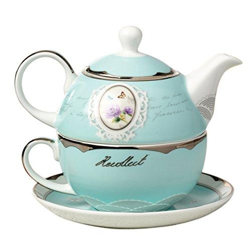 Jusalpha Bone China Blue Teapot for One, Teapot and Saucer Set, Turquoise Gold (Teapot Set 03)