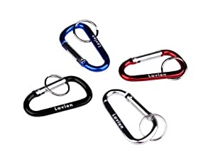 "Lavien Set of Four 2-3/4"" Aluminum Snap Hooks with Key Ring"
