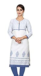 Offwhite and Blue Printed 3/4 Sleeves kurta