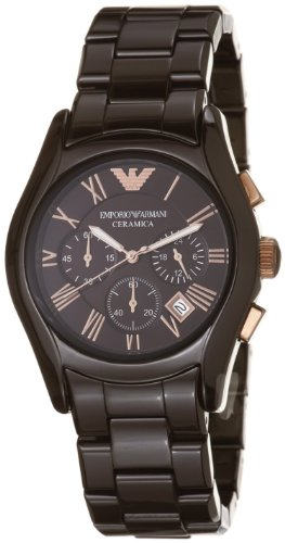 Emporio Armani Women's AR1446 Ceramic Brown Ceramic Chronograph Dial Watch