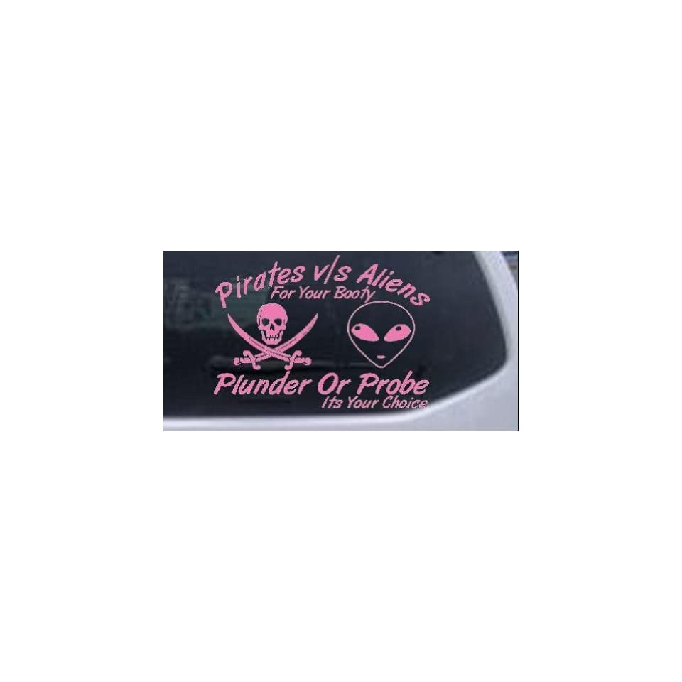 8in X 5.7in Pink    Pirates Verses Aliens Funny Car Window Wall Laptop Decal Sticker