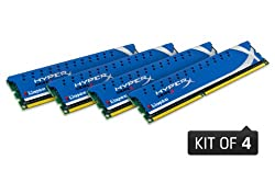 Kingston Technology HyperX 16 GB Kit (4x4 GB Modules) 16 Quad Channel Kit 1600 (PC3 12800) 240-Pin DDR3 SDRAM KHX1600C9D3K4/16GX