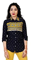 Comix Imported Cotton Fabric 3/4th Sleeves Women Funky Printed Shirt