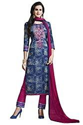 Kvsfab Blue & Pink Satin Cotton printed un-stitched dress material