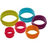 Colourworks Plastic Plain and Fluted Round Pastry/Cookie Cutters (Set of Five)
