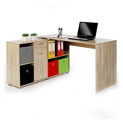 Schreibtisch-CARMEN-Eckschreibtisch-Winkelschreibtisch-Computertisch-in-Sonoma-Eiche-mit-Regalelement