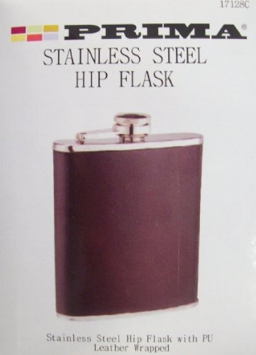 STAINLESS STEEL BLACK HIP FLASK WITH PU LEATHER WRAPPED