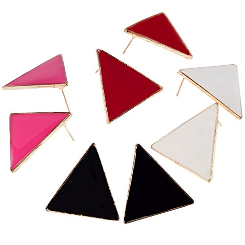 [Fantastic Set Kit With 4 Pairs of Eighties Vintage Style Earrings / Ear Studs In Triangles Geometric Shapes And In Black, Red, White And Rose Red By] (80s Earrings)