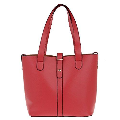 Vbiger borsa Tote Bag in pelle donne semplici 2 in 1 (nero) (Rosso)