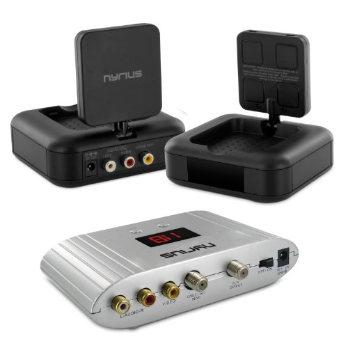 Nyrius NY-GS10 5.8GHz 4 Channel Wireless Audio/Video Transmitter System with Nyrius NRFM100 RF Modulator (Rf Modulator Wireless compare prices)