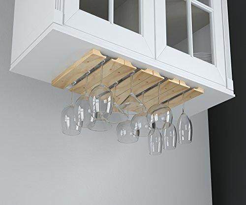 hanging under cabinet stemware wine glass holder rack adjustable natural wood ebay. Black Bedroom Furniture Sets. Home Design Ideas