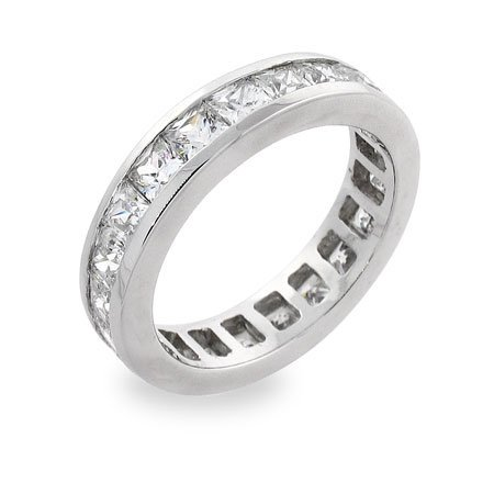 Sterling Silver Eternity Ring in White Cubic Zirconias Size 7 (Sizes 5 7 Available)