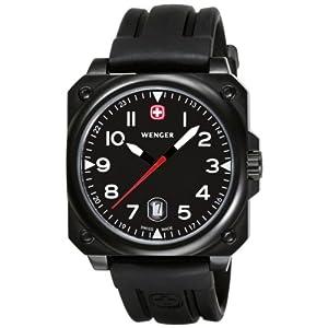 Wenger Men's 72424 AeroGraph Cockpit Black PVD Rubber Strap Watch