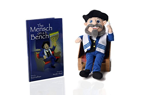 the-mensch-on-a-bench-hanukkah-decor-with-hardcover-book-and-removable-bench