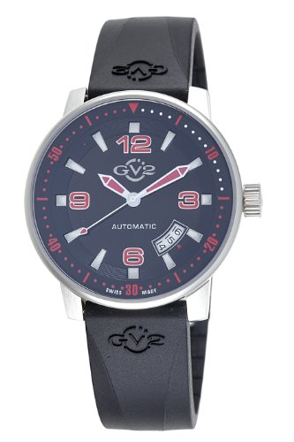 GV2 by Gevril Men's 4013R Stadium Automatic Stainless Steel Rubber Strap Watch