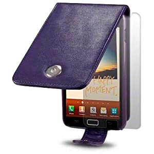 SAMSUNG GALAXY NOTE PURPLE PREMIUM PU LEATHER FLIP CASE / COVER / POUCH / HOLSTER + SCREEN PROTECTOR PART OF THE QUBITS ACCESSORIES RANGE