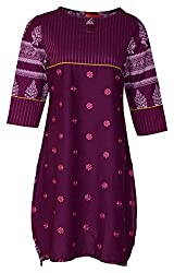 Zele Women's Cotton Straight Kurti (Z0002-C_Multi-Colour_X-Large)