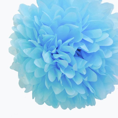 Dress My Cupcake 5-Inch Baby Blue Tissue Paper Pom Poms, Boy Baby Shower Party Supplies With Favors And Invitations, Set Of 8