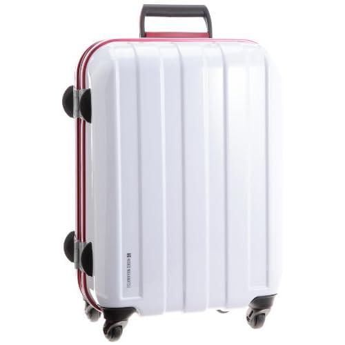 [ヒデオワカマツ] HIDEO WAKAMATSU マスキュラーレッドフレーム ポリカーボネート製TSAロックスーツケース Sサイズ(49.5cm)  85-75199 ホワイト (ホワイト)