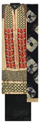 Style Mantra Women's Cotton Unstitched Dress Material (Golden and Black)