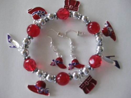 Pretty Charm Bracelet and Matching Earings Set!!! Red Hat Ladies Society Gotta Have