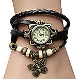 Tricess Fashion Butterfly Pendant Quartz Retro Weave Wrap Around Leather Bracelet Lady Woman Wrist Watch