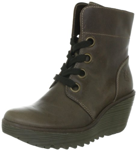 Fly London Women's Yel Leather Dk Grey Platforms Boots P500325007 8 UK