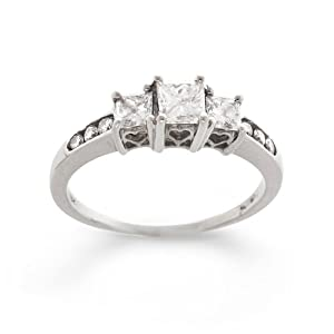 14K White Gold Diamond Past, Present and Future Anniversary Ring (1.00 cttw, H-I Color, I1-I2 Clarity), Size 7