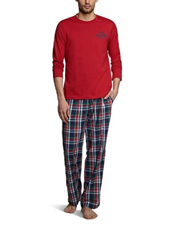Tommy Hilfiger Herren Pyjama Collin PJ set / 2S87901541, Gr. 50 (M), Rot (888 CHILI PEPPER / CHECK)