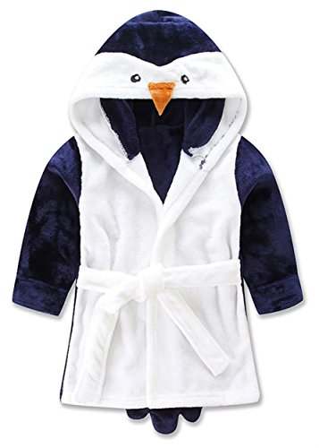 Betusline Children's Cute Cartoon Animal Hooded Pajamas Bathrobe Towel Penguin,Blue,XS(Height 35.4