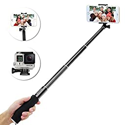 Selfie Stick, BRIDGEGEN Self-portrait Extendable Aluminum Monopod Selfie Stick with Built-in Bluetooth Remote Shutter for iPhone 6, 6S, 5, 5S, 4s, 4, Samsung Galaxy S6, S5, Android and GoPro