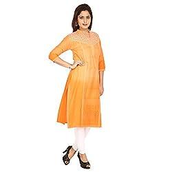AnjuShree Choice Women's Cotton Orange Hand Ombre Dyed Stitched Straight Kurta Kurti (XX-Large)
