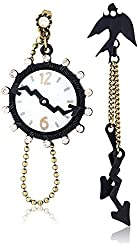 """Betsey Johnson """"Wonderland"""" Clock and Bird Mismatch Front and Back Drop Earrings"""