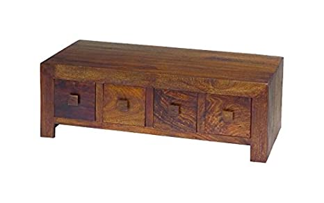JAIZX Furniture DCT8D 8-Drawer Mango Wood Coffee Table, 55 x 118 x 40 cm