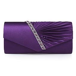 Damara Womens Pleated Crystal-Studded Satin Handbag Evening Clutch,Purple