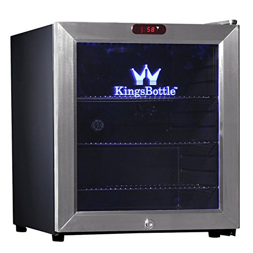 Kingsbottle 38 Can Bar Fridge With Glass Door, Mini, Black