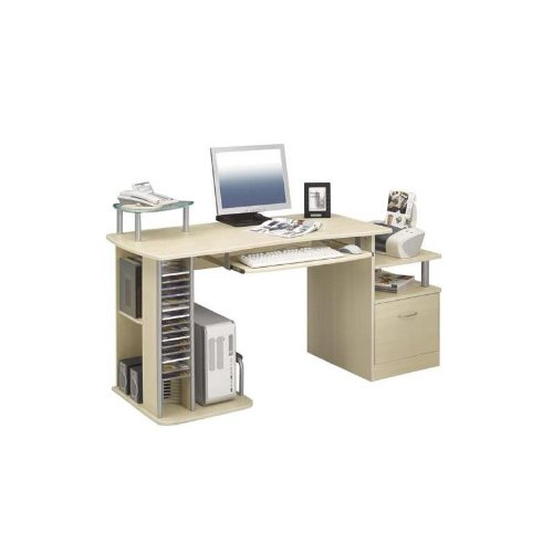 SixBros. Computer Desk - PC Workstation - Office Desk - Maple - S-202A/87