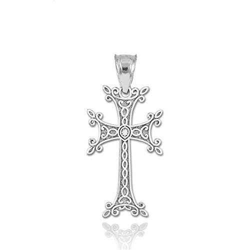 Solid 14K White Gold Armenian Cross Necklace Pendant