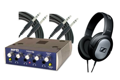 "Hp4 Headphone Amplifier By Presonus With 1 Sennheiser Hd201 Headphone And 2 ¼"" Trs 10' Cable"