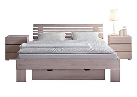 Hasena Bett Wood-Line Classic Fuße Massa 25cm - Kopfteil Litto in Bettfarbe - Grösse 180x200 - Härtegrad Buche weiss, lackiert
