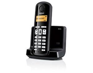 Siemens Gigaset SIAL110 - Teléfono fijo inalámbrico, agenda para 40 contactos, identificador de llamadas, color negro (importado)