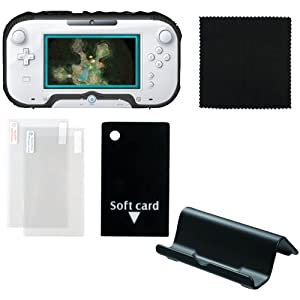Protection Kit for Wii U with Soft Armor Case, Stand, Screen Protector x 2 and Cleaning Cloth