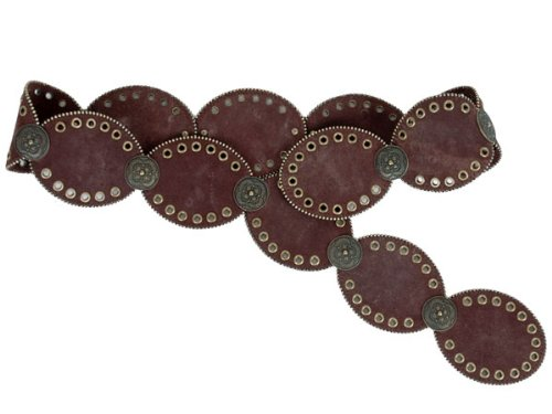 Concho and Grommets Suede Leather Oval Disc Belt with Tiny Metal Ball Chain Size: M/L - 46 END - TO - END Color: Brown