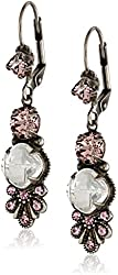 "Sorrelli ""Crystal Rose"" Petite Leaf Antique Silver-Tone Drop Earrings"
