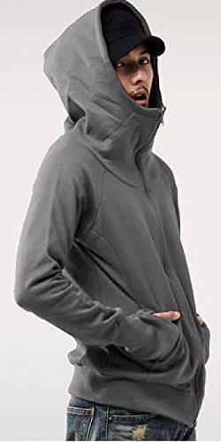 (シュバリアン) Chevalian 指抜き デザイン フード 付き ジップアップ スウェット スエット 長袖 パーカー パーカ メンズ ファッション アウター (17. ダークグレー M)