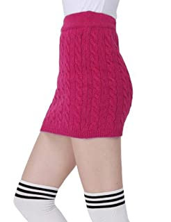 Doublju Kink Cable Knit Micro Mini Skirt HOTPINK (US-M)