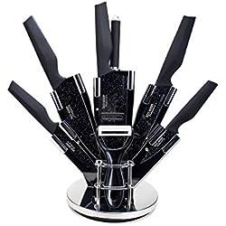 8-teiliges Ross Henery Professional Edelstahl-Küchenmesserset mit stilvollen, einzigartigen schwarzen Klingen im Block