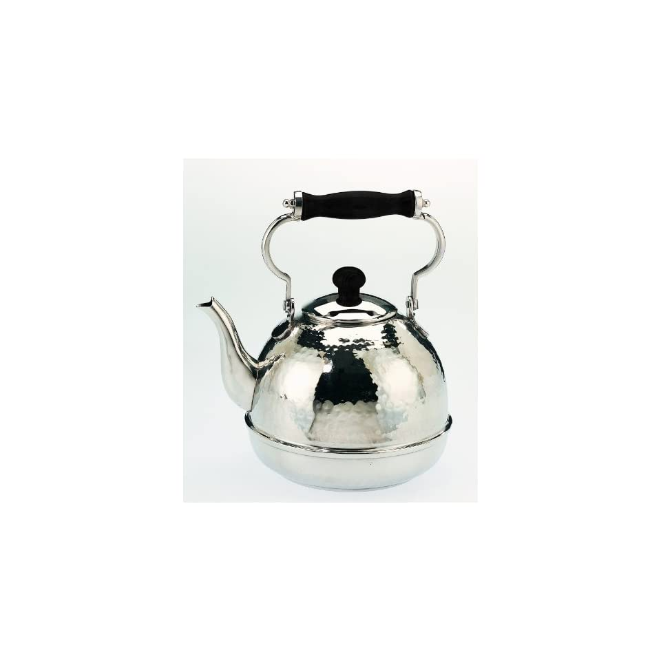 Tea Kettle 2QT Hammered Stainless Steel with Wood Handle